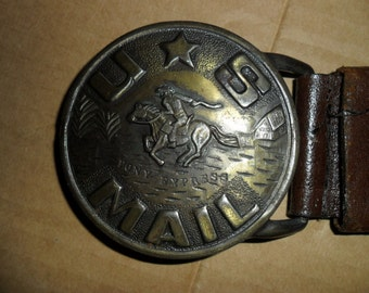 Vintage Western Buckle Belt (US Mail Pony Express)
