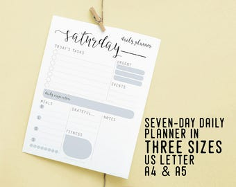 Daily Planner, Daily Schedule, Printable Instant Download, Daily Agenda, Productivity Planner, DIY Desk Planner, To Do List, Daily Goal Task