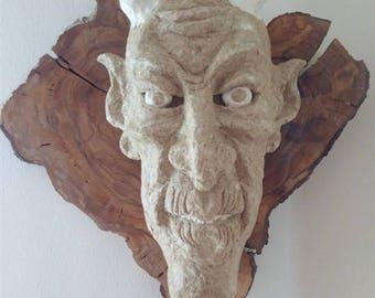 Demon face,Wall decor,Demon wall mask,Wall art,Paper mache mask,Horned mask,OOK,Decorative mask,Wall hangings,Wall decoration,Handmade mask.