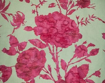 Vintage Upholstery Fabric Floral Green Red 1970s Leaves Flowers Branches