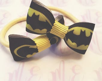 Batman hair bow headband hairband snap clip girls baby ladies