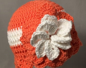 Crochet Baby Sun Hat, orange with white  flower and accents