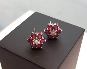 Ruby and Diamond Flower Cluster