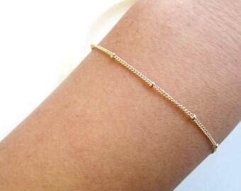 Satellite Chain Bracelet-Elegant & Sturdy Saturn Chain Beautiful Layering Bracelet-14K Gold Filled, Rose Gold Filled, Sterling Silver-CG226B