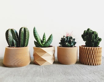 Set of 4 small Pots / Planters Design Hygge printed in Wood perfect for succulents or cacti !