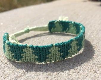 Christmas/Pine Trees Adjustable Friendship Bracelet
