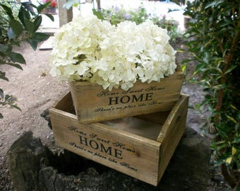 Rustic Wooden Crates with Home Typography Set of 2 Crates Advertising designs Vintage Barn Shabby chic Home sweet home