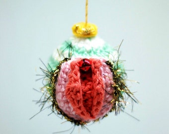 Crocheted Vagina Holiday Ornament w/ Pubic Hair- Create Your Own!