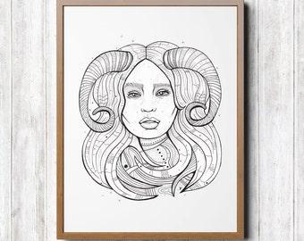 Aries Woman Portrait Zodiac Sign A4 A5 capricorn portrait, illustration, illustration, zodiac sign, print, zodiac portrait, horoscope