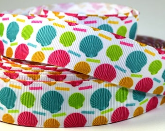 "1"" Colored Clam Shells - Seashells - Grosgrain Ribbon"