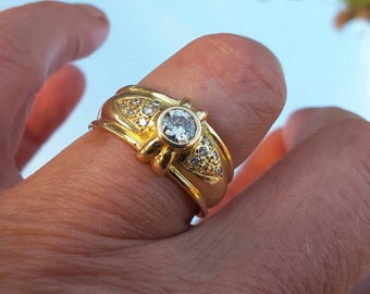Band ring gold 18 K/CT and diamonds