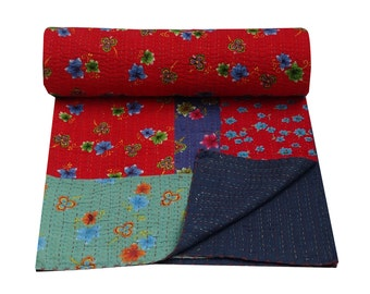 Queen Size Patchwork Kantha Bed-Cover Floral Print Kantha Quilt