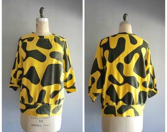 Vintage 1980s Esprit Cotton Giraffe Print Sweatshirt
