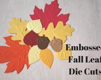 Embossed Fall Leaf Die Cuts/ Fall Leaves/ Fall Leaf Die Cuts/ Fall leaf embossing/ embossed leaves/ fall leaves/ acorns