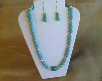 154 Sophisticated Magnesite Turquoise and Silver Beads with Mosaic Center Bead Beaded Necklace