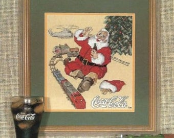 "Complete Cross Stitch Materials ""Seasons Greetings"" Coca Cola Santa Series #5"
