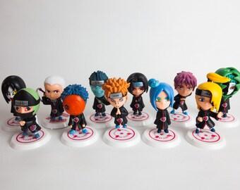 Naruto Shippuden Akatsuki Chibi 11 pcs Figure Set Cake Toppers With Base