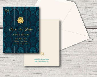 Save the Date, We're Engaged, Wedding Announcement - Engagement, Indian Cards, Gold Stationery, Original, Ganesha