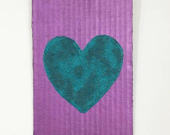 """Pearlescent Teal Heart 5x7"""""""