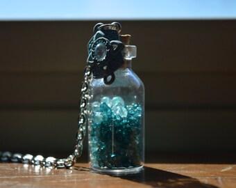 Blue Beads Bottle Necklace