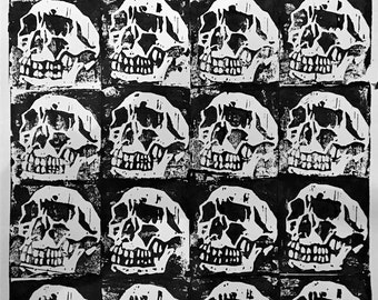 Original Painting of Skulls, Gothic, Art, Horror, Industrial, Punk, Macabre, Catacomb, Skeleton, Poster, Print, Painting, Halloween