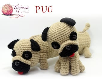 Crochet pattern of Pug pencil case and Pug Amigurumi