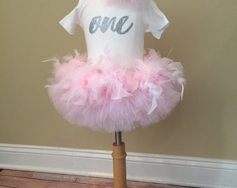 Feather Tutu First Birthday outfit
