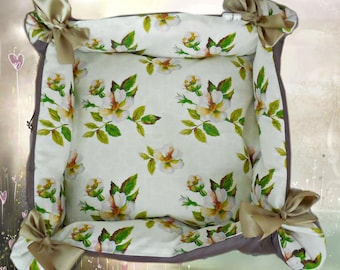 "CAT BED ""Apple blossoms"" - pet bed, cat mat"