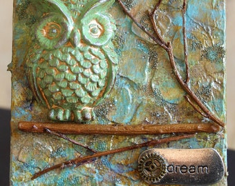 Owl 3D Art - Mini Assemblage Canvas Art - Includes Easel -  Owl Art - One of a Kind - Found Objects - Mixed Media Assemblage Art - Original