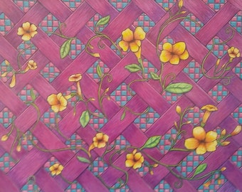 Pretty original checkerboard floral trellis colored drawing