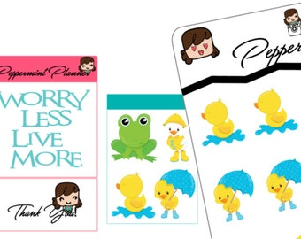 Little Frog and Duck Planner Stickers, Planner Stickers, {#123}