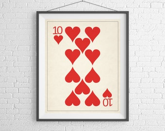 Playing Card Art, Playing Cards Print, Game Room Decor, Game Room Art, Poker Gifts, Gambling Gift, Office Art, Man Cave Art, Bar Decor