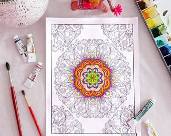 Adult Coloring Page printable INSTANT DOWNLOAD, mandala, illustration, Art Therapy, relaxation 8.5 x 11