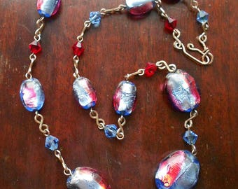 Vintage Foiled Glass Bead Necklace, Art Deco Style, 1950s, Pink and Blue Glass Beads