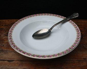 Societé Céramique Maestricht, 4 old soup plates, 4 vintage soup plates with flower decor, antique soup plates, Dutch stoneware.