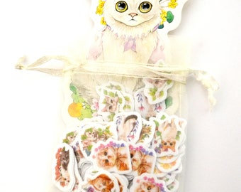 Cute Cat Sticker Flakes Organza Bag