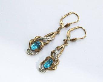 Earrings, earrings, vintage, old gold, Blue Topaz, 60 years, 38 mm long, dangling earrings