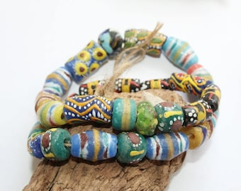Mixed beads, 28 pieces, handmade antique trade beads, African,