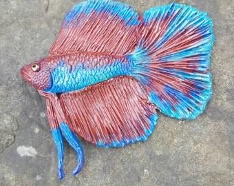 Handmade Handpainted Polymer Clay Siamese Fighting Fish / Betta Fish Magnet