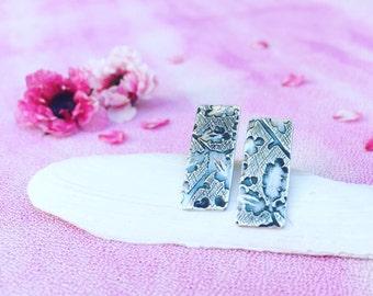 Textured sterling silver bar earrings