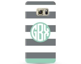 Personalized Samsung Galaxy S7 edge case, galaxy s7 edge plus case, personalized galaxy s6 case, custom monogram samsung galaxy case stripes