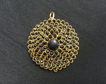 Black Pacchi Kari Indian Pendant, Jaipur Jewellery Layered Charm, Ethnic Rajasthan Pendant, Jewellery Supply 5 cm Dia, Price per pc
