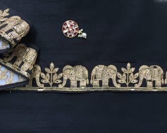 Marching Elephants Indian Embroidery Trim, Black Luxurious Designer Sari Border,Royal Elephant Procession Lace,Zari Sequins 5cm W