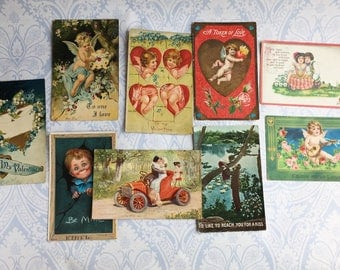 Lot of 9 Antique Valentine's Day Postcards / 1900s / 1910s / cupid / cherub