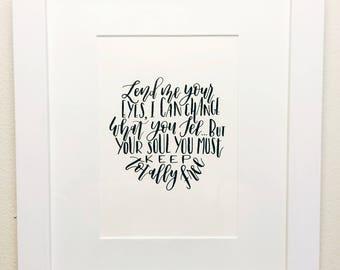 Custom Calligraphy Quote | Calligraphy Wall Art | Typography Art