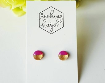 polymer clay earrings, pink resin studs, gold earrings, hypoallergenic earrings, fuchsia  earrings
