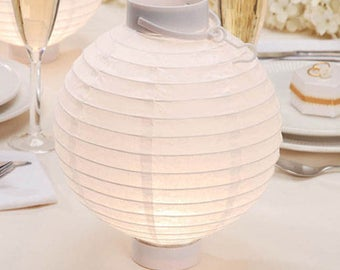 Paper Lanterns - Battery Lit -  White - 8 inches - 2 pieces