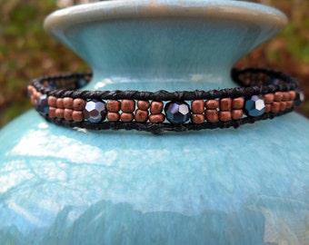 Copper & Black Beaded Bracelet