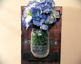 Mason Jar Wall Decor, Rustic Home Decor, Mason Har Candle Holder, Rustic Candle Holder, Metallic Strap, Lighted Mason Jars