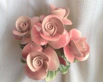 Capodimonte Flower Basket Pink Roses